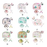 5Pcs / set Baby Supplies Set Fork Children Spoon Fiber Plate Separation Feeding Bowl Cup Cartoon Tableware Bamboo
