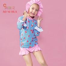 AONIHUA 3pcs Sweet Ruffles Strawberry Two-piece Swimsuit Girls 2017 Designer Brand Print Children baby Kids Long sleeve swimwear