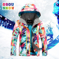 Gsou Snow Winter Ski For Girls Kids Waterproof Warm Snowboarding Ski Jacket Snowboard Outdoor Skiing Snow Wear Windproof