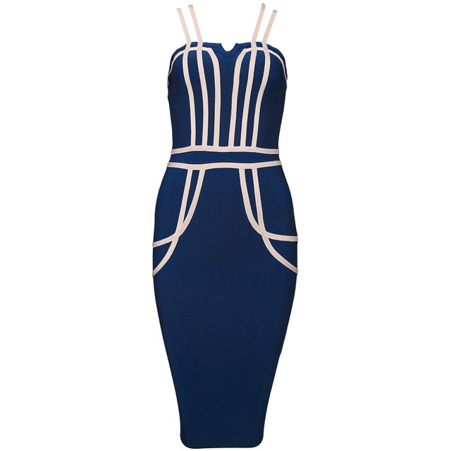 8f0e21b6c6dc1 US $39.48 6% OFF|2017 New Chic Sexy Strips Embellished Double Strap  Wholesale Women Bodycon Celebrity Party Bandage Dress-in Dresses from  Women's ...