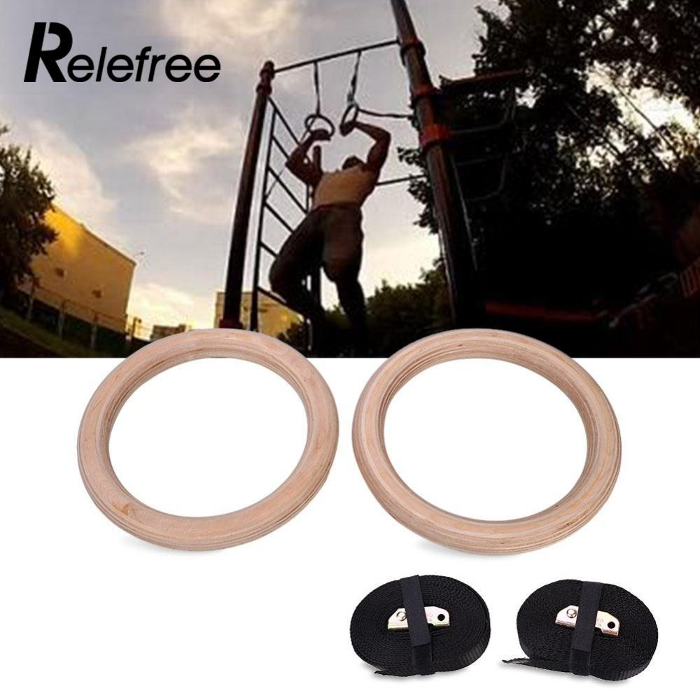 все цены на Relefree New Wooden 28mm Exercise Fitness Gymnastic Rings Gym Exercise Crossfit Pull Ups Muscle Ups