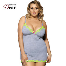 d2f5b490b900 Comeondear Nuisette Femme Sexy With Yellow Lace Edge Women Sleepwear Hot  Sale Costume Sexy Cotton Nightgown