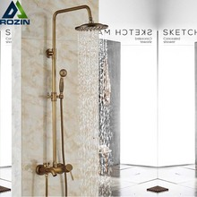アンティーク真鍮の降雨シャワー蛇口シャワーセットウォールマウントシャワーミキサー蛇口浴室のシャワーミキサータップ
