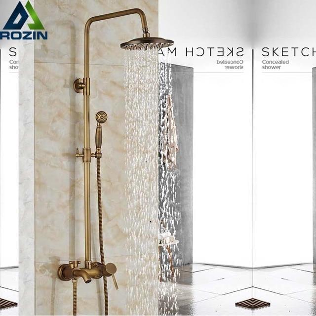 Античный латунный смеситель для душа с дождевой насадкой, набор для ванной комнаты с одной ручкой, настенный смеситель для душа, смеситель для ванной комнаты, смеситель для душа