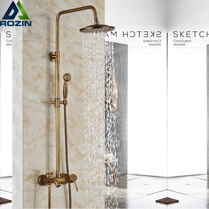 Antique Brass Rainfall Shower Faucet Single Handle Bath Shower Set Wall Mount Shower Mixer Faucet Bathroom Shower Mixer Tap wall mount shower faucet rainfall 8 brass shower head bathroom shower mixer system dual handle chrome shower mixer tap