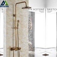 Antique Brass Rainfall Shower Faucet Single Handle Bath Shower Set Wall Mount Shower Mixer Faucet Bathroom Shower Mixer Tap