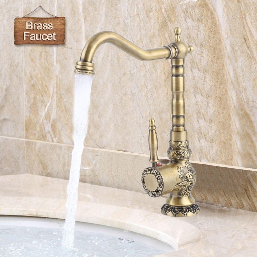 Faucet European Antique Exquisite Carved Copper Water Basin Sink Brass Faucet Single Hole Rotate Mixer Kitchen Barthroom Tap