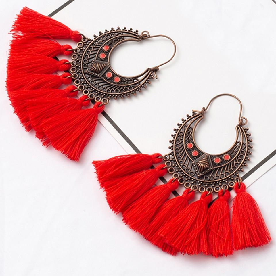 DemüTigen Mode Handgemachte Quaste Hoop Ohrringe Für Frauen Böhmen Ethnische Vintage Boho Fringe Erklärung Ohrring Schmuck Geschenke Dropshipping