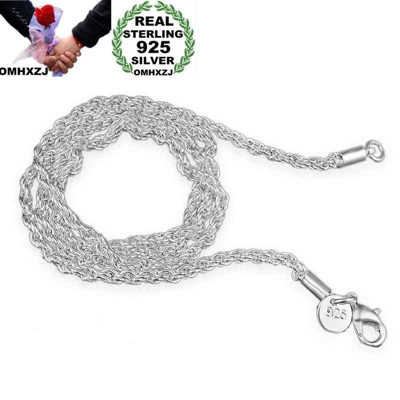 OMHXZJ Wholesale Personality Fashion OL Woman Girl Party Gift Silver 3MM Rope Chain 925 Sterling Silver Chain Necklace NC189