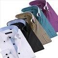 Moda Para Hombre Camisas de Manga Larga Hombre Camisa de Algodón Para Hombre de Esmoquin Camisas de vestido de Slim Fit Camisa de Los Hombres Camisa de La Boda Blanco Negro Homme