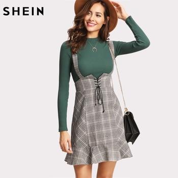 SHEIN High Waist Winter Lace Up Plaid Sheath Skirt