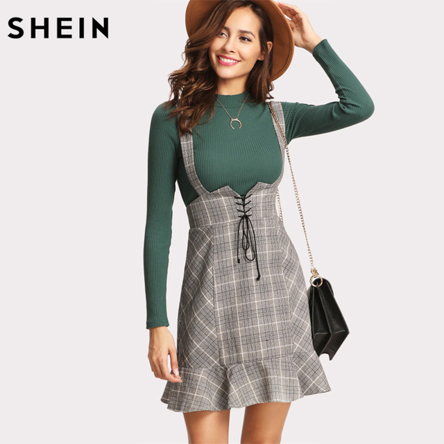 SHEIN Skirts Womens High Waist Woman Skirt Autumn Winter Lace Up Front  Ruffle Hem Plaid Skirt Grey Zipper Back Sheath Skirt 15f889446a