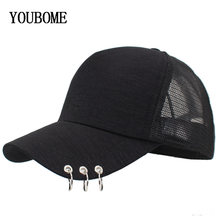 YOUBOME Women Mesh Baseball Cap With Rings Snapback Hats Caps For Women Summer Hip Hop Casquette Girls Bone Solid Dad Cap Hat(China)