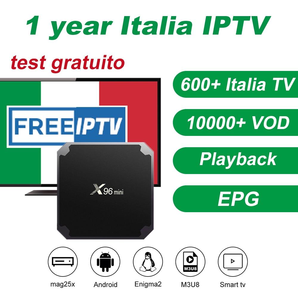 IPTV Smarters Italia avec 1 année IPTV abonnement 600 + Italie en direct à la télévision Mediaset Premium Pour boîtier de télévision androïde Enigma2 télévision intelligente PC