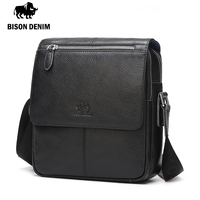 BISON DENIM 2016 Men Bags100 Genuine Leather Messenger Bag Men Classic Black Business CrossBody Bag Designer