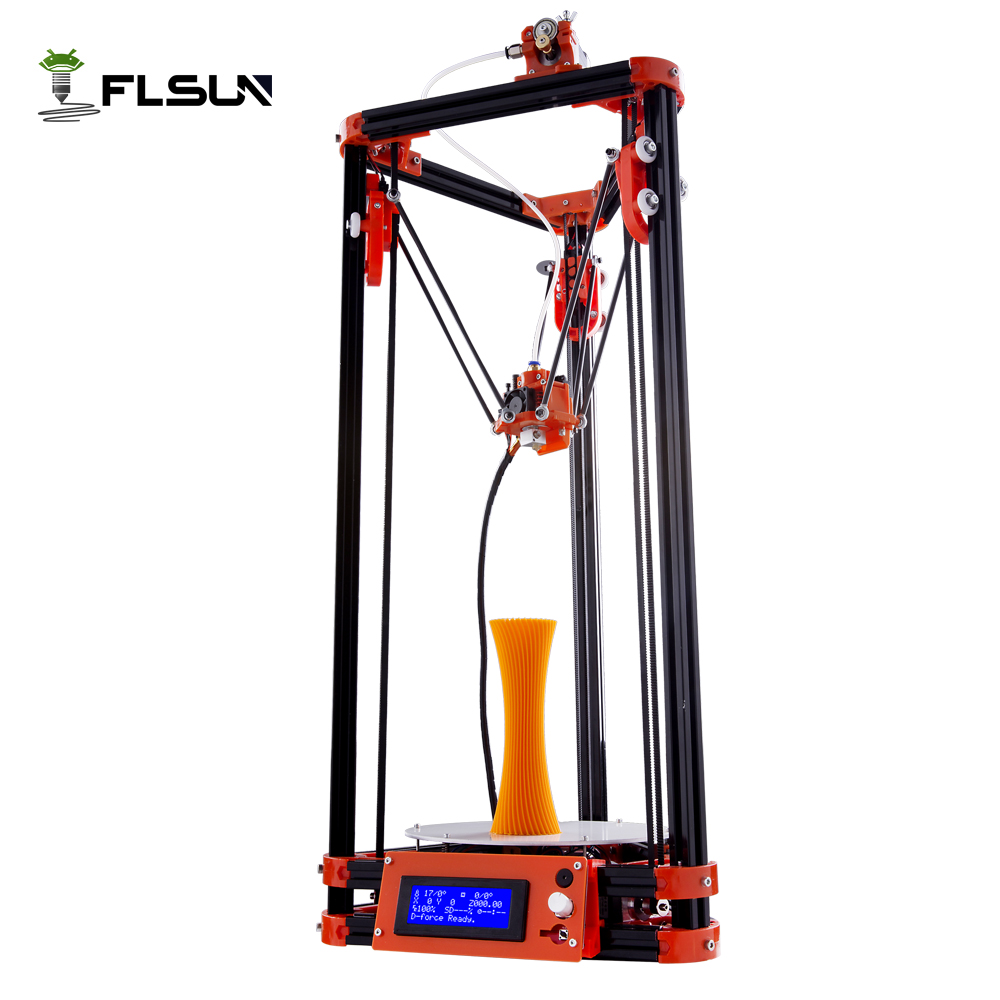 FLSUN 3d printer Big pulley Kossel 3d Printer With One Roll Filament SD Card Fast Shipping original anycubic 3d pinter kit kossel pulley heat power big size 3d printing metal printer fast shipping from moscow