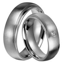 1 Pair 2016 Unique Design 6mm For Women Men Titanium Steel Wedding Promised Ring Sets With