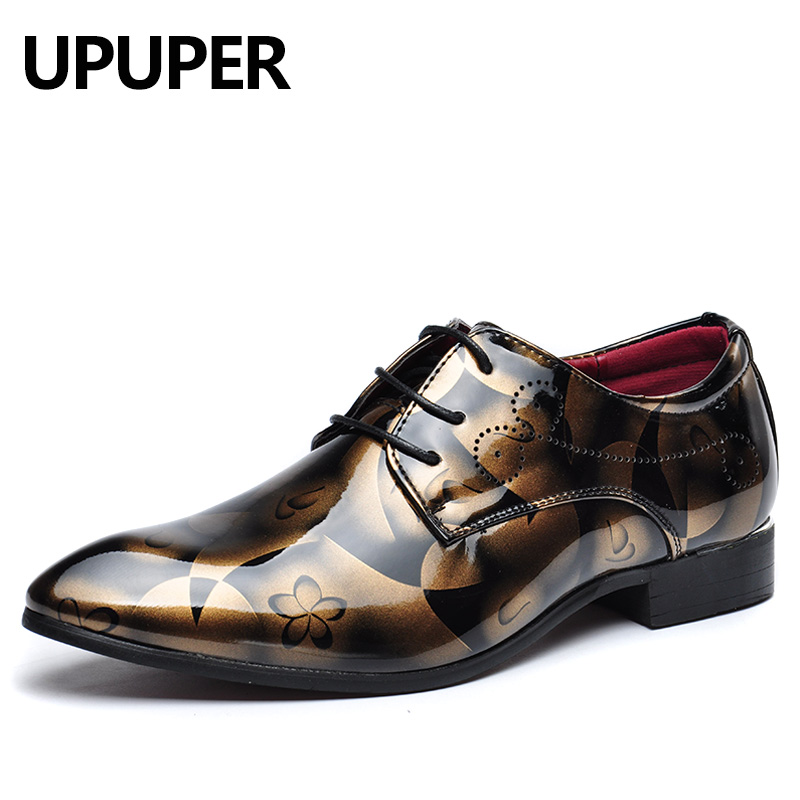 UPUPER Men Dress Shoes Patent Leather Oxfords Shoes Mens Formal Shoes Pointed Toe chaussures hommes en cuir Big Size:37-50