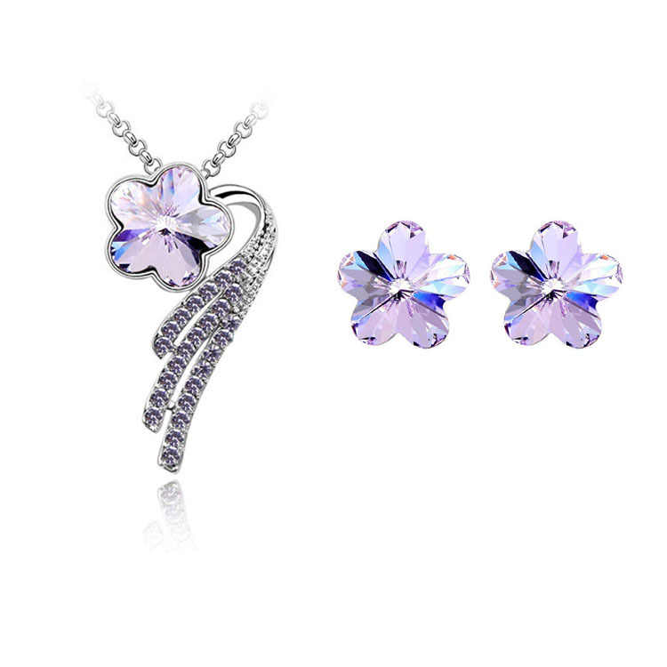Star Jewelry New Fashion Necklaces For Women 2015 Alloy Metal Jewerly Sets Flower Crystal Stud Earring