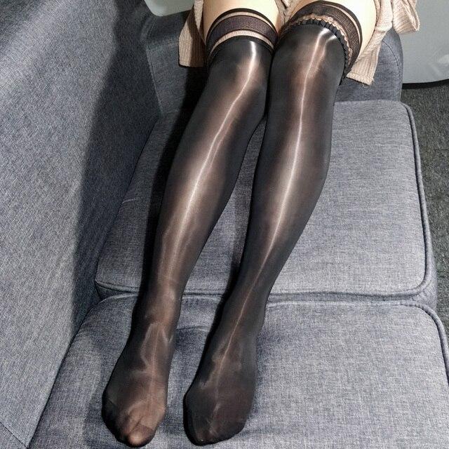 7e9861868dc4 2018 lencería Sexy de talla grande para mujer aceite brillante Sexy encaje  Stay Up medias femeninas