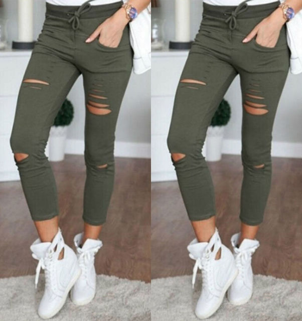 1847bd3dd Womens Ladies Ripped Skinny Denim Jeans Cut High Waisted Jegging Trousers  Pants GL Wholesale