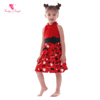 Kaiya Angel Valentine's Children Princess Clothing Red Love Glasses Black Beard Dress Toddler Kids Wedding Party Dresses