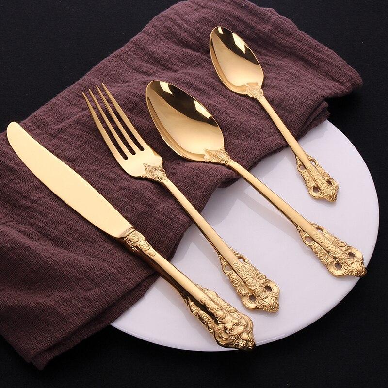 16Pcs Golden Luxury Dinner Set Vintage Western Gold Plated Cutlery Stainless Steel Knife Fork Set Vintage