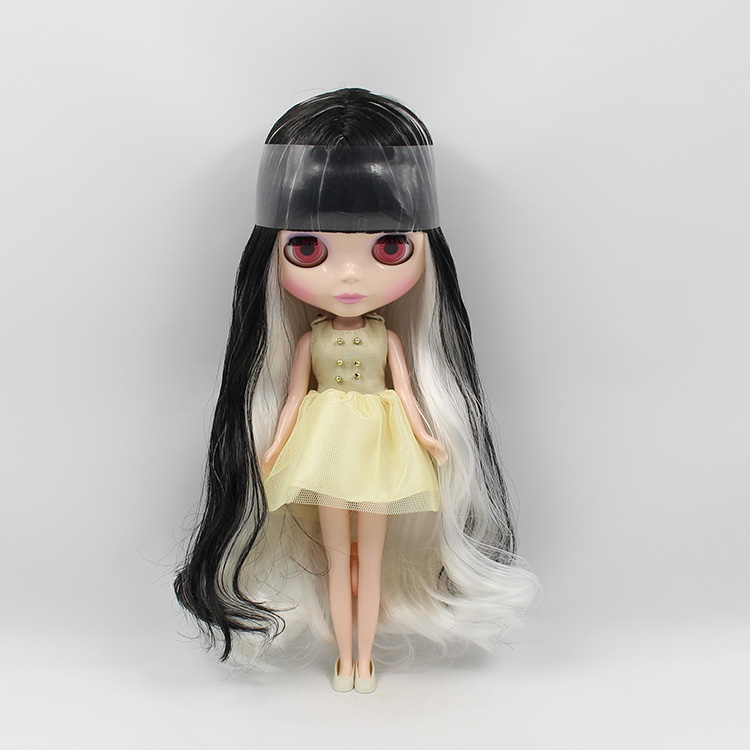 Фото Nude blyth dolls for girls black and white color long hair with bangs blyth nude doll DIY makeup toys gifts