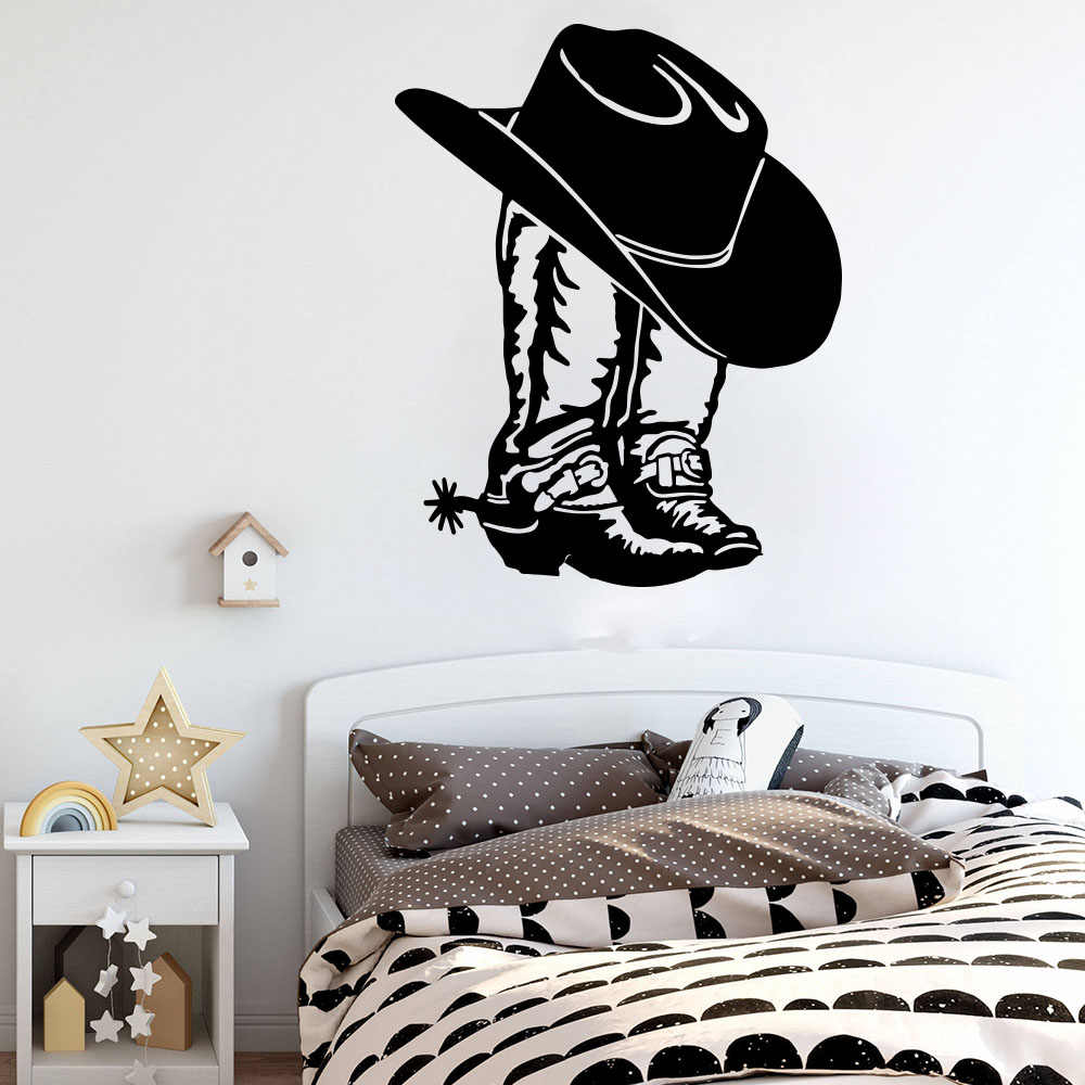 Cowboy Cowgirl Boot & Hat Western Shoe coche portátil pegatina de pared calcomanía Cowgirl Boot vinilo Decoración