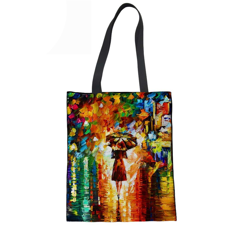 Channels Handbags Linen Handbag Soft Beach Bags Reusable Foldable Shopping Hand Bags for Women Coth Bag Oil Painting Prints