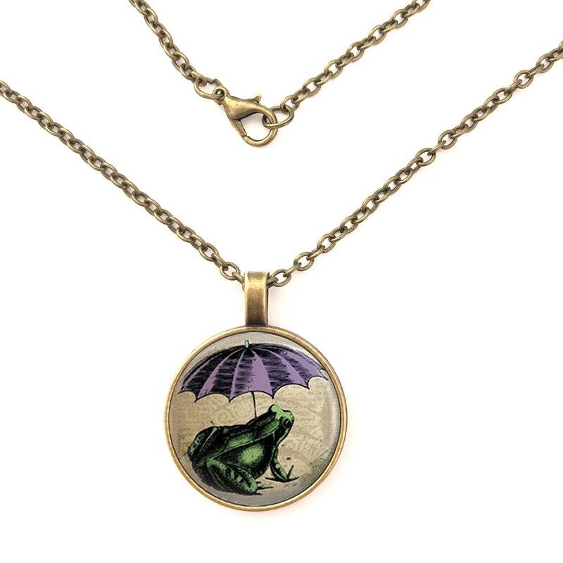 Frog pendant with umbrella open