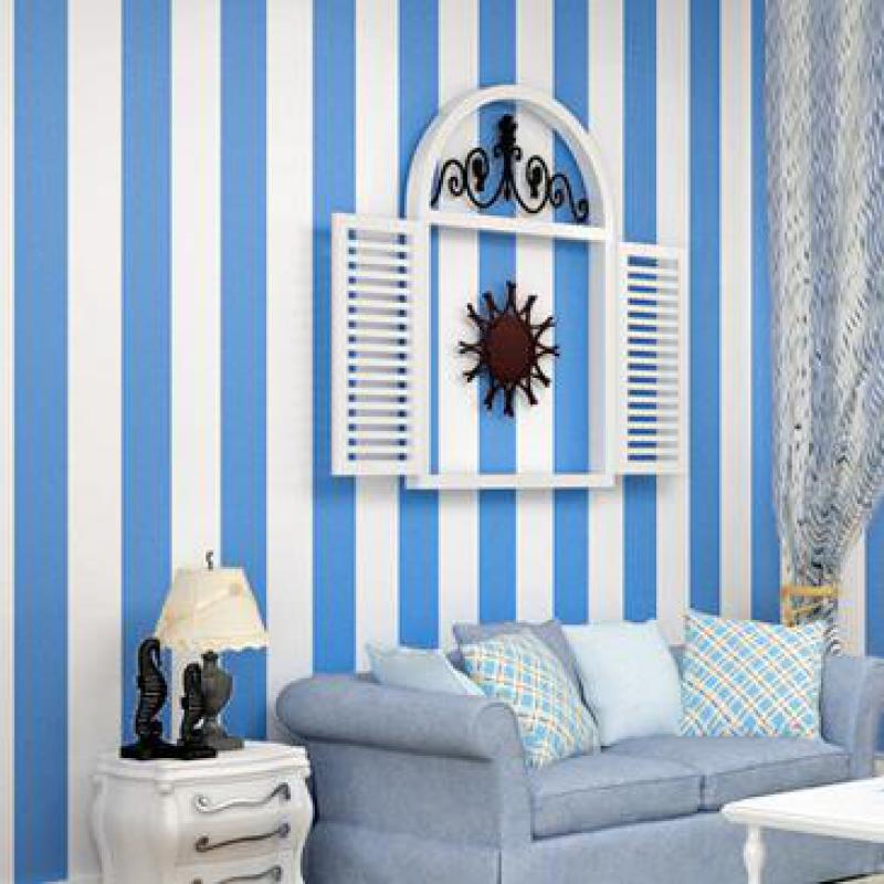8 Color Mediterranean Striped Wallpaper Black And White Striped Non-woven Wallpaper 3d Living Room Vertical Striped Wallpaper free shipping hepburn classic black and white photographs women s clothing store cafe background mural non woven wallpaper