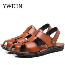 Męskie skórzane sandały YWEEN męskie antypoślizgowe buty na plażę męskie kapcie duże rozmiary 38-47 tanie tanio CN (pochodzenie) Skóra Split Podstawowe Syntetyczny LEISURE RUBBER Pasek klamra Mieszkanie (≤1cm) Pasuje prawda na wymiar weź swój normalny rozmiar