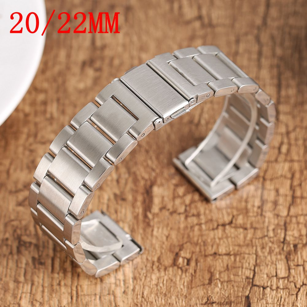 20/22mm Silver Bracelet Clasp Men Women Watch Band Strap Solid Stainless Steel Fashion Replacement High Quality + 2Spring Bars 22mm silver replacement folding clasp with safety shark mesh men watch band strap stainless steel 2 spring bars high quality