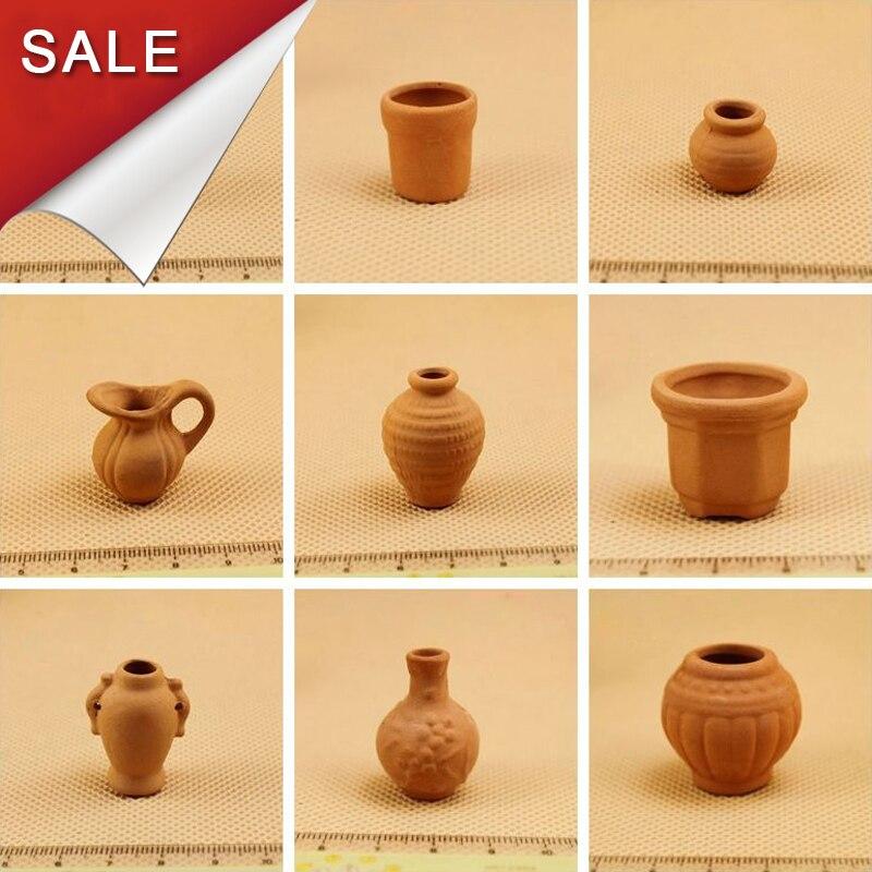 Miniature Toys Dollhouse Assorted sizes Six Terracotta Plant Pots