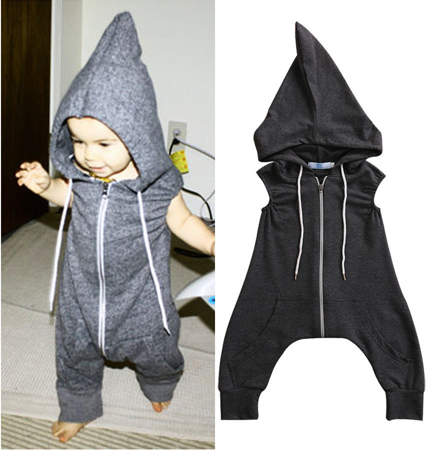 bff87e15208 Newborn Kids Baby Boys Girls Clothes Hooded Zipper Romper Sleeveless Cotton  Jumpsuit Playsuit Clothing Baby Boy 0 4T-in Rompers from Mother   Kids on  ...