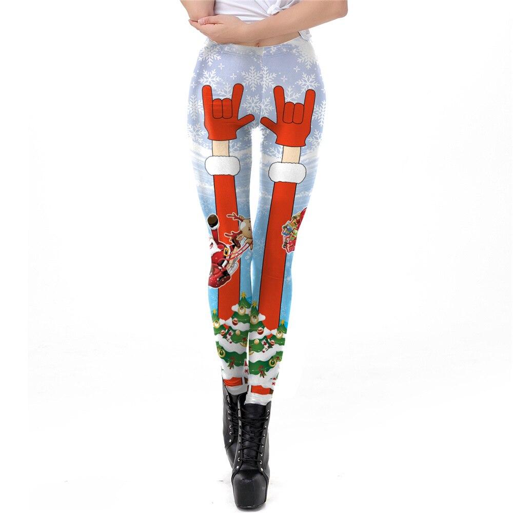 PLstar Cosmos Snowflake Elk Leggings Women Plus Size Leggins Santa Claus Christmas Tree Bell Legging
