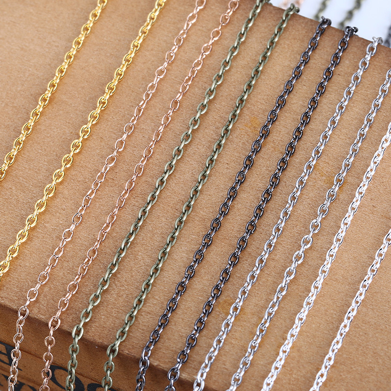 ACLOVEX 10m/lot Width 2mm Metal Iron Rolo Link Chains Bulk Gold Silver Color Necklace Chain Bracelet Findings For Jewelry Making