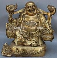 """Xd 00364 20 """"Brąz Wealth Money Bag Ruyi Szczęśliwy Śmiech Maitreya Budda Jubao Długopis Statua w Posągi i rzeźby od Dom i ogród na"""