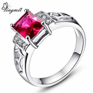 lingmei Fashion Wedding Ring Pink Red Blue Rainbow Multicolor Cubiz Zirconia White Gold Color Ring Size 6 7 8 9 10 JEWELRY(China)