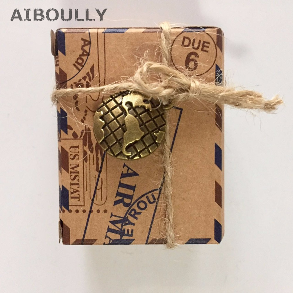 50 pcs/lot DIY Wedding decoration Vintage Via Air Mail Global Brown Paper Candy Box with Metal Compass Global envelope Cake Box
