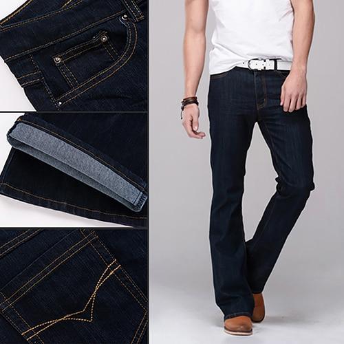 Men Classic Mid Rise Boot Cut Leg Slightly Flared Bell Bottom Jeans Denim Formal Pants Long Trousers maschi  pantalon  velvet boot cut bell bottom pants