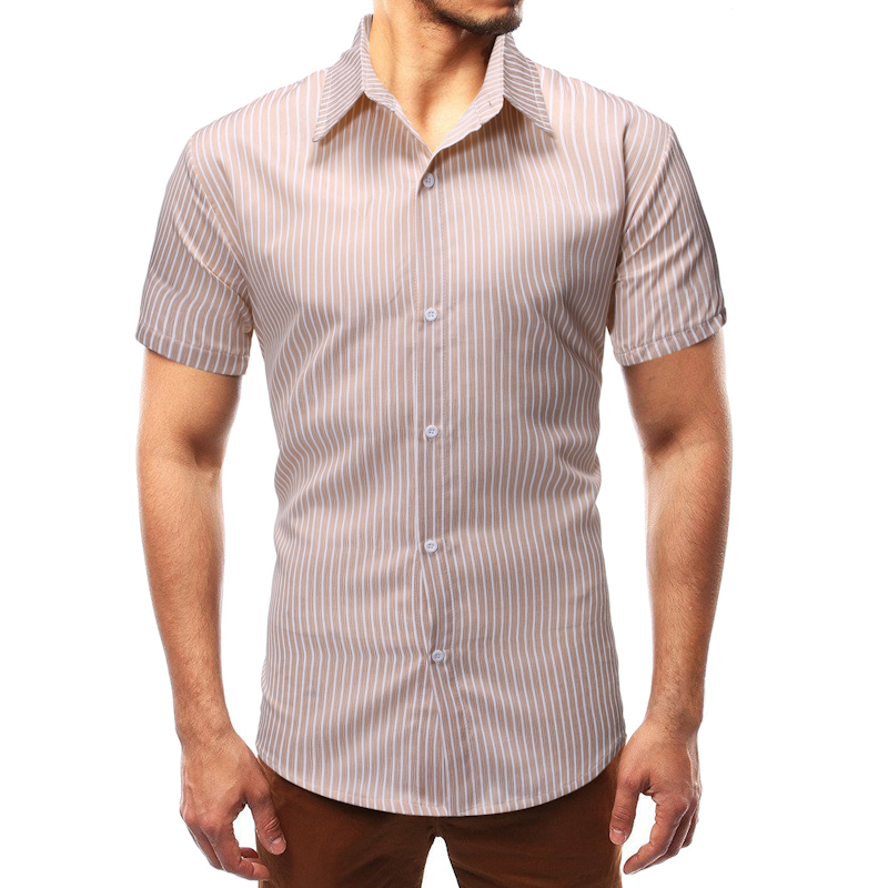 MarKyi fashion striped shirt men high quality short sleeve mens shirt casual mens printed silk shirt in Casual Shirts from Men 39 s Clothing
