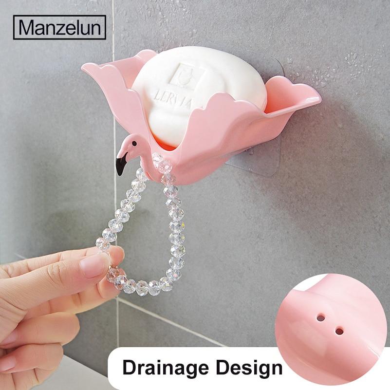 Flamingo Zeepbakje Spone Houder Reizen Zeepkist Sterke Sucker Muur Handdoek Stand Waterproof Case Containter Badkamer Accessoires Ziekten Voorkomen En Genezen