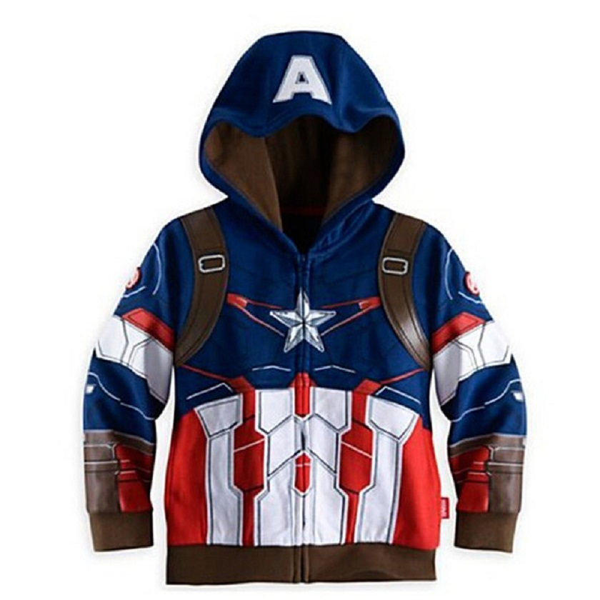 2018 Spring Autumn baby boy jacket Coats Terry Avengers Iron Man Superhero Hooded Boys Jackets Children Outerwear Kids Clothes