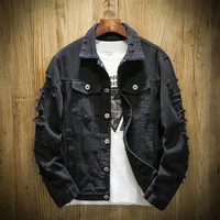 Japan Style Mens Casual Hip Hop Ripped Denim Jacket Coat Black White Red Pink Spring Jeans Jacket Men Streetwear Clothes 3XL 4XL