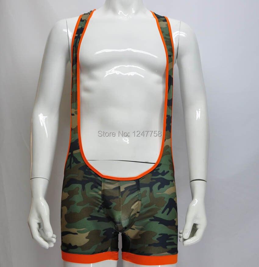 New Brand Man's Camouflage Bodysuit Underwear Singlet Wrestling Leotard Vest