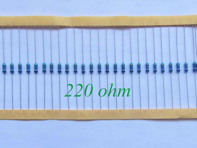 100 قطع 1/4 واط المعادن مقاوم من غشاء 220 أوم 220R 1% التسامح الدقة بنفايات خالية من الرصاص في المخزون