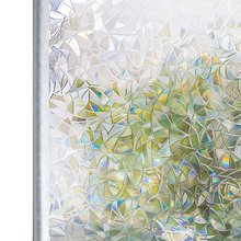 Rabbitgoo 3D Crystal Window Film Privacy Geometric Self Adhesive Rainbow Effect Removable Decorative Stained Glass