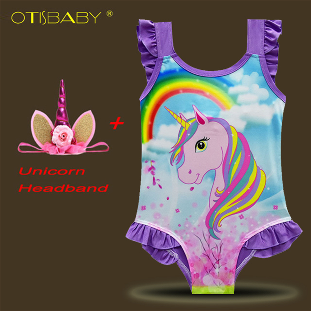 2018 Girls Unicorn Swimsuit Kids Swimwear Unicorn Headband Bikini Set Baby Girl Rainbow  ...